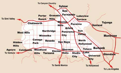 Map of San Fernando Valley