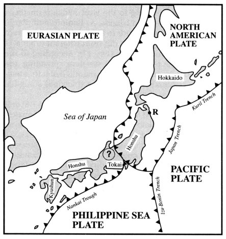 Crustal plates and their motions in the general geodynamic setting of Japan