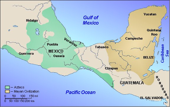 Map of Central America showing Aztec and Mayan territories.