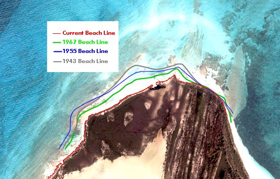 Shoreline contours of North Bimini for the past 59 years