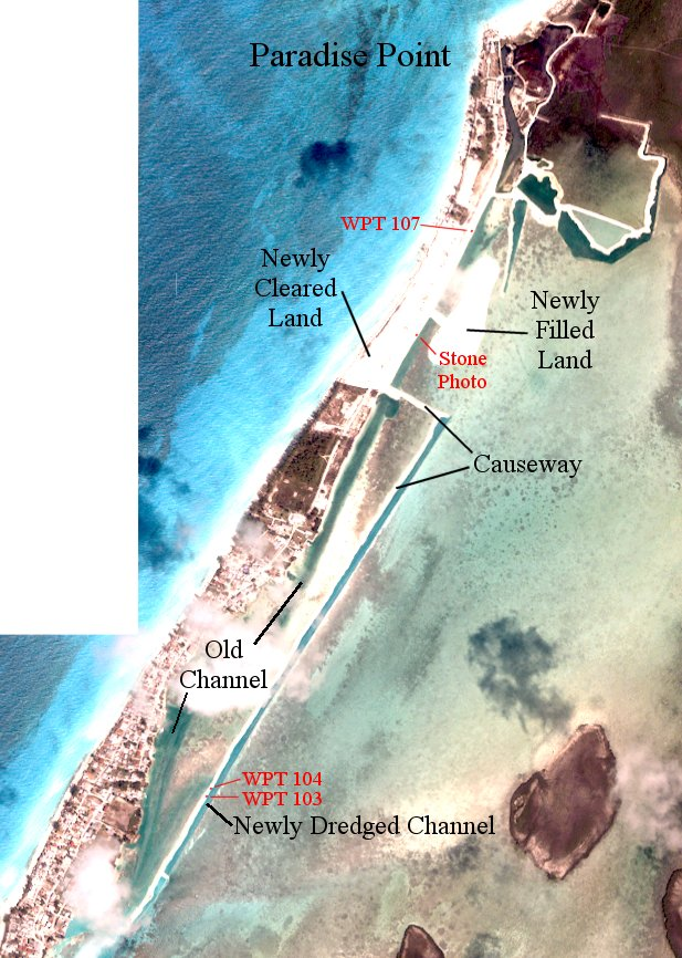 Fig 2.  Satellite Imagery Showing the Newly Dredged Channel on N. Bimini