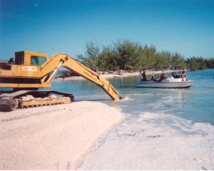 Machine shovel sampling coquina