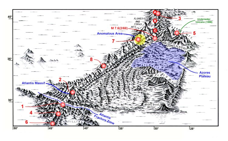 Physiographic diagram of the Azores region