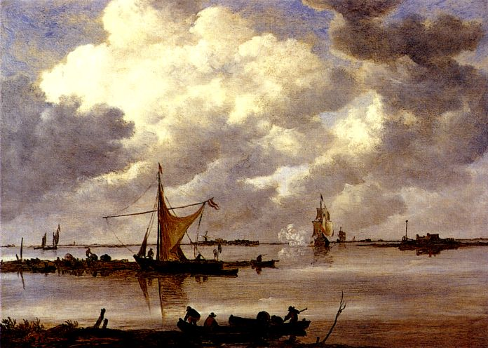 An Estuary With Fishing Boats and Two Frigates - Jan van Goyen